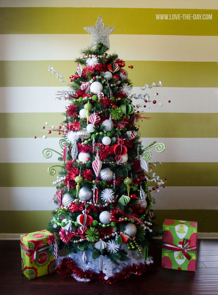 Green White and Red Christmas Tree