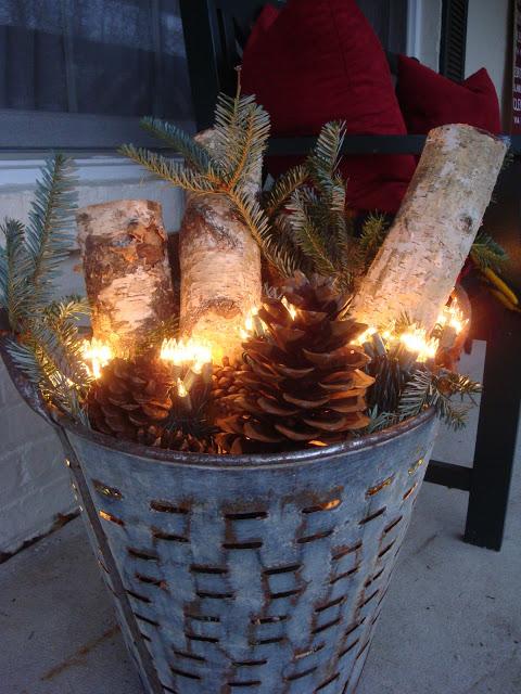 Galvanized Basket Farmhouse Christmas Decoration DIY