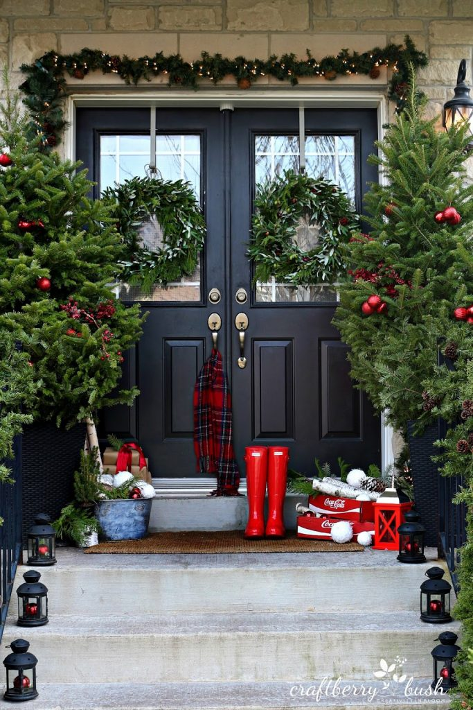 Red Christmas Front Porch Decor