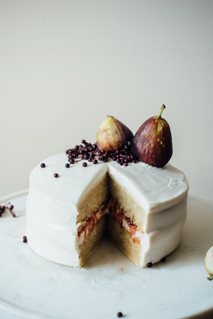 Hazelnut Layer Cake With Fig Compote Vegan Cream Cheese