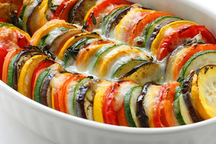 Eggplant and Zucchini Gratin