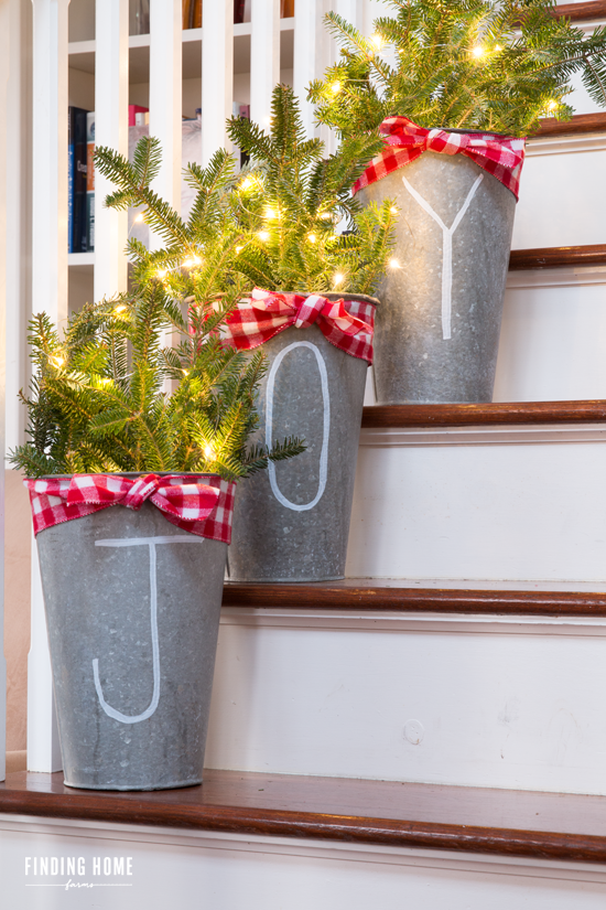Buckets of Joy Christmas Planter Farmhouse Style
