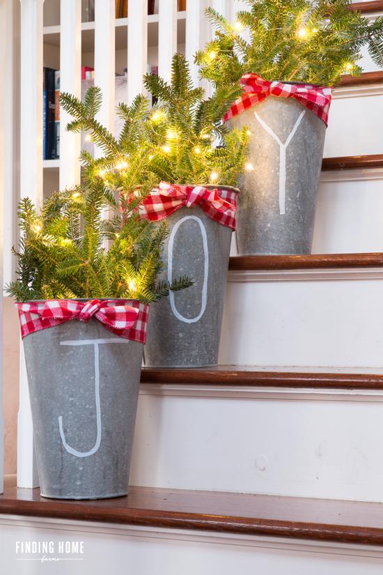 Buckets of Joy Christmas Planter Farmhouse Style