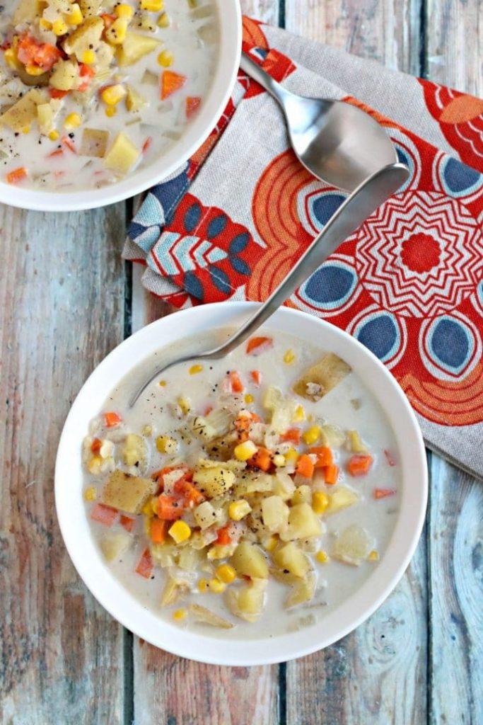 Vegan Potato Corn Chowder Instant Pot Soup