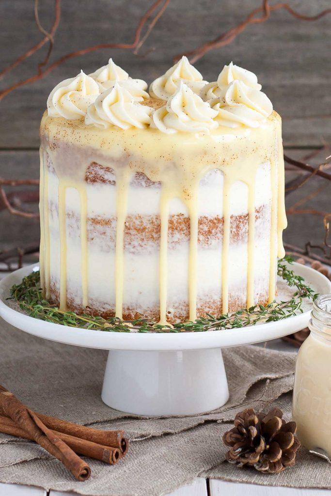 Spiked Eggnog Cake