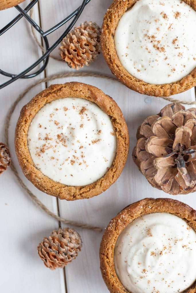 Eggnog Cheesecake Cookie Cups