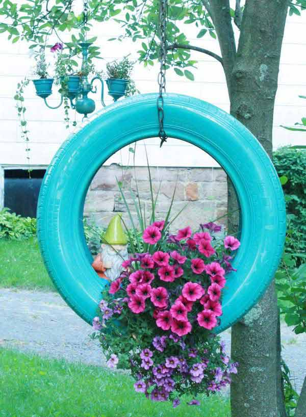 Blue Flower Bed Tire for Your Front Yard