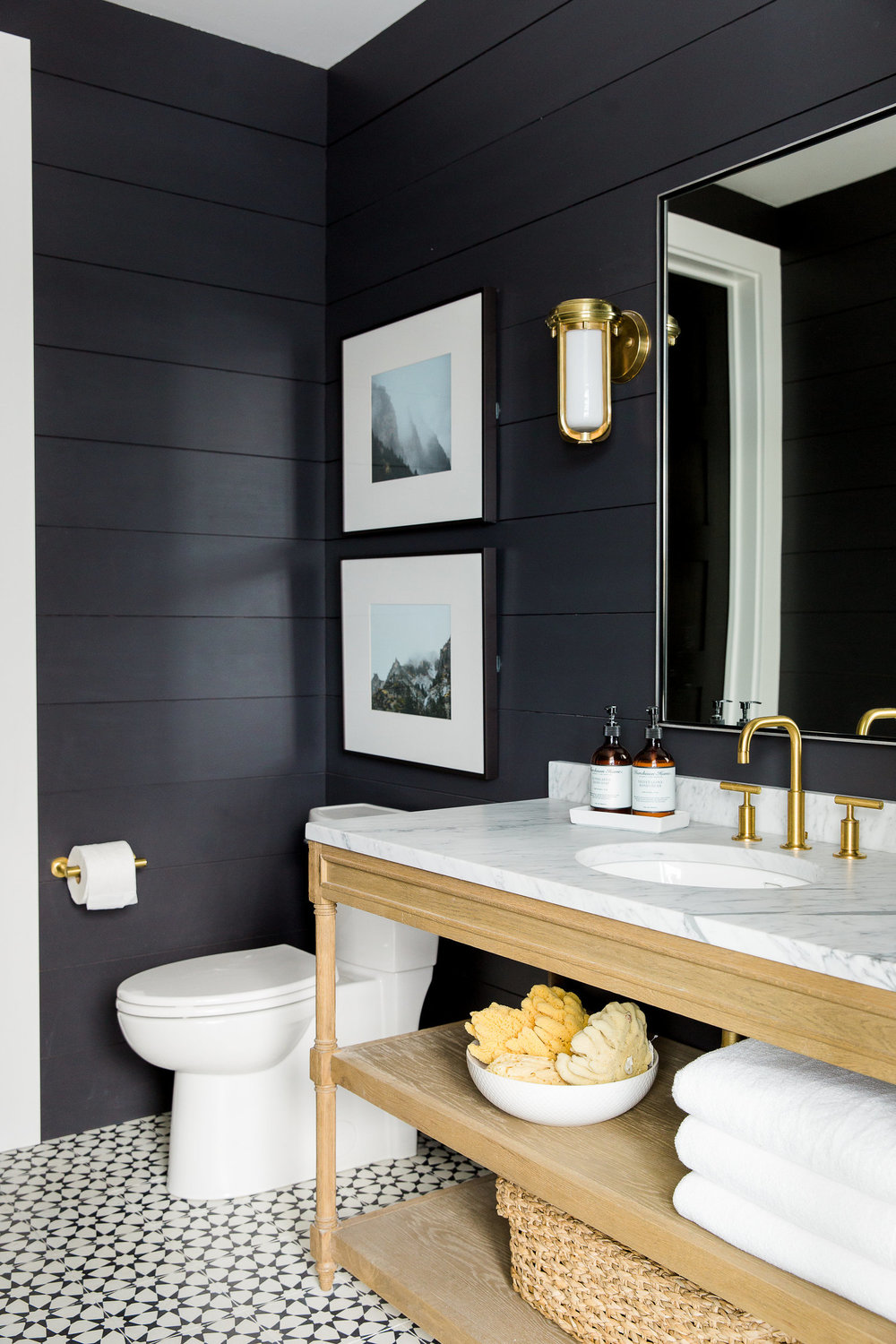Farmhouse Bathroom With Black Walls