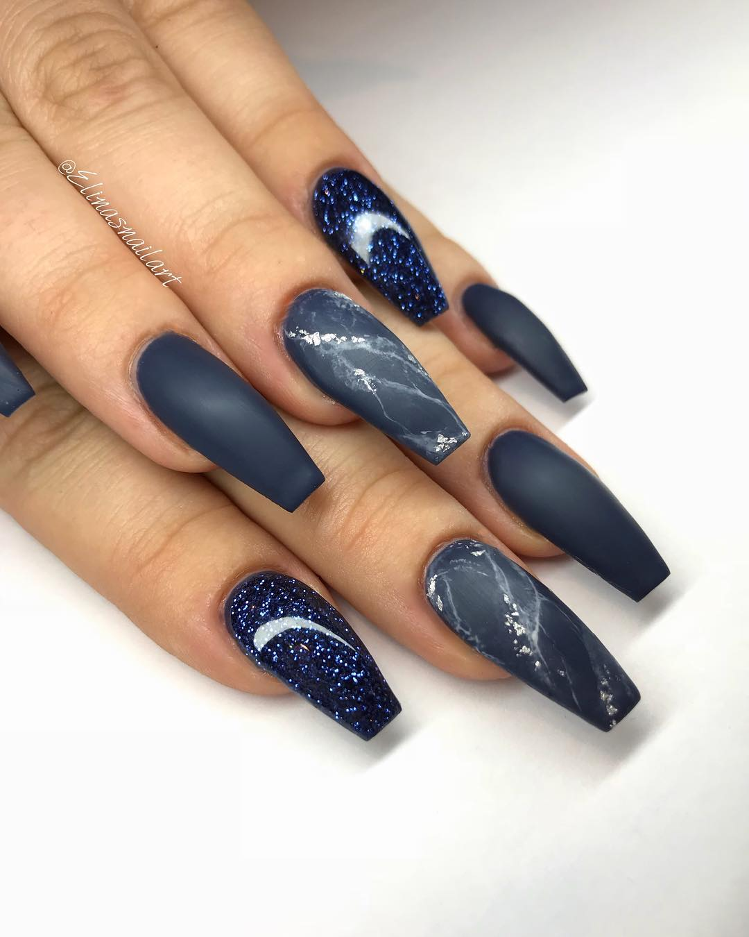 Petroleum Blue Coffin Nails