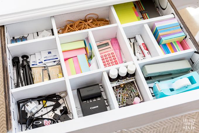 DIY Built in Drawer Dividers for desk organization