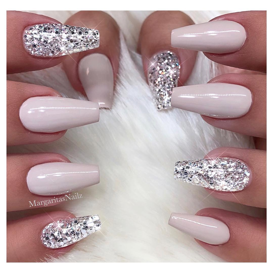 White Glitter Coffin Nails