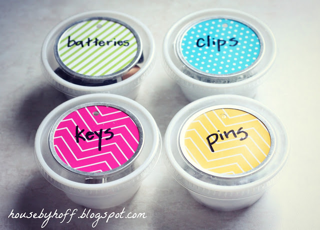 Up-Cycled Dip Containers Used for Organizing