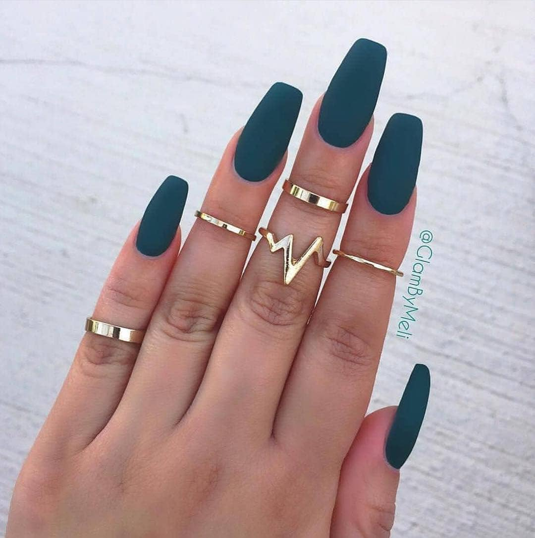Teal Coffin Nails
