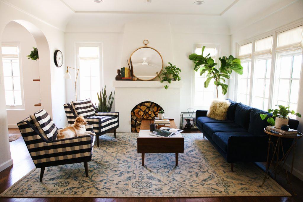 Blue Velvet Mid Century Modern Couch