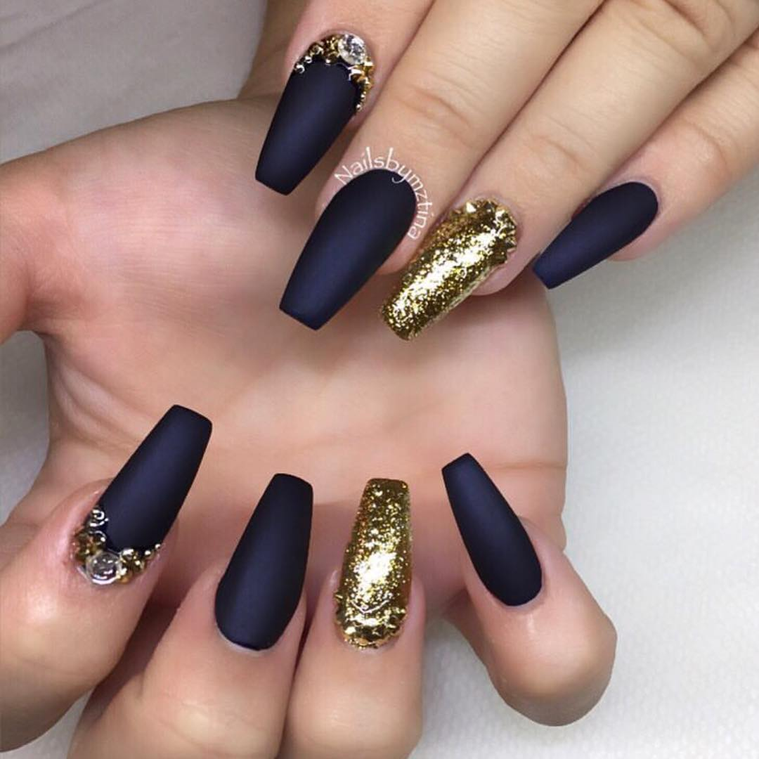 Metallic Gold and Navy Blue Coffin Nails