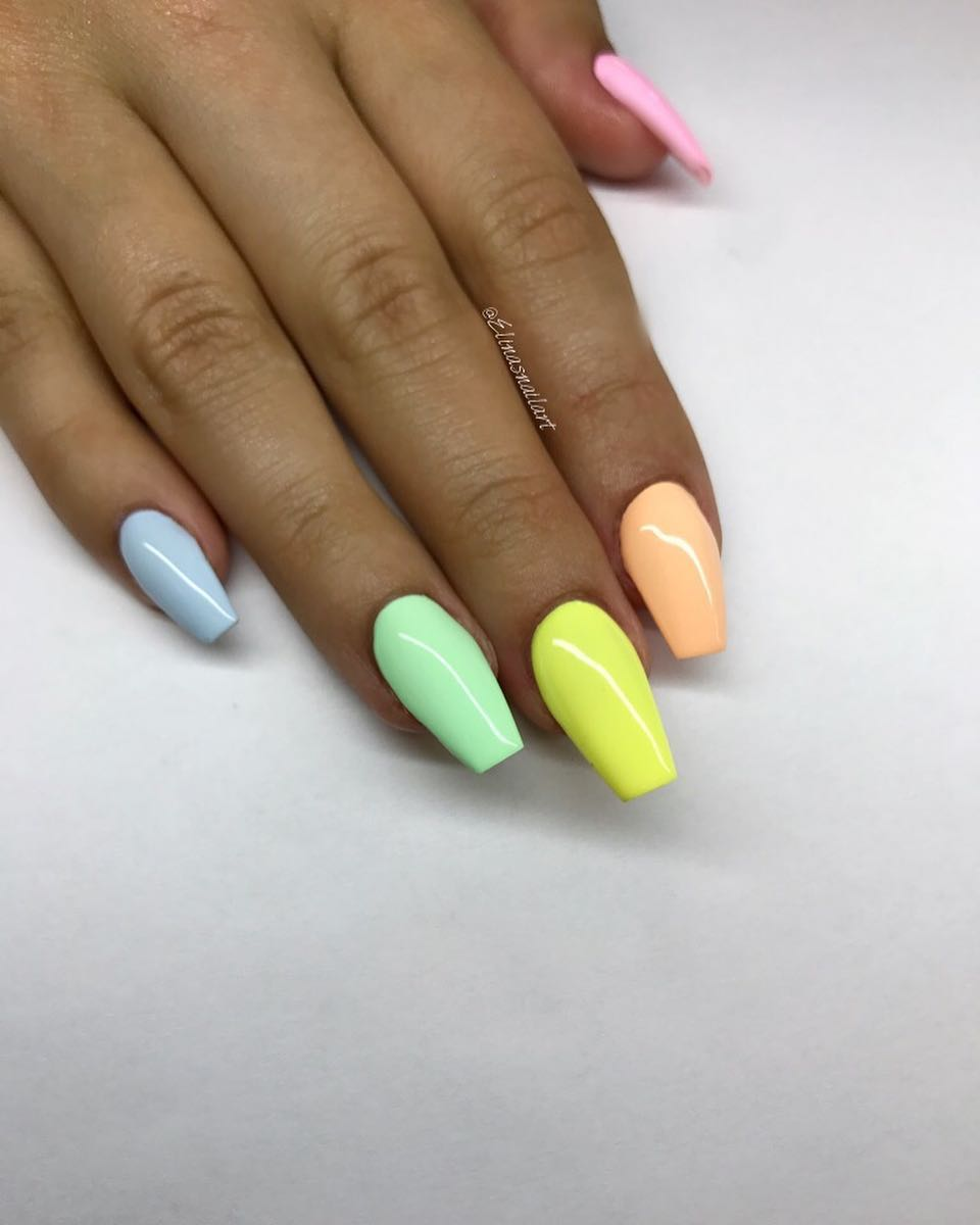 Crayon Rainbow Coffin Nail Designs