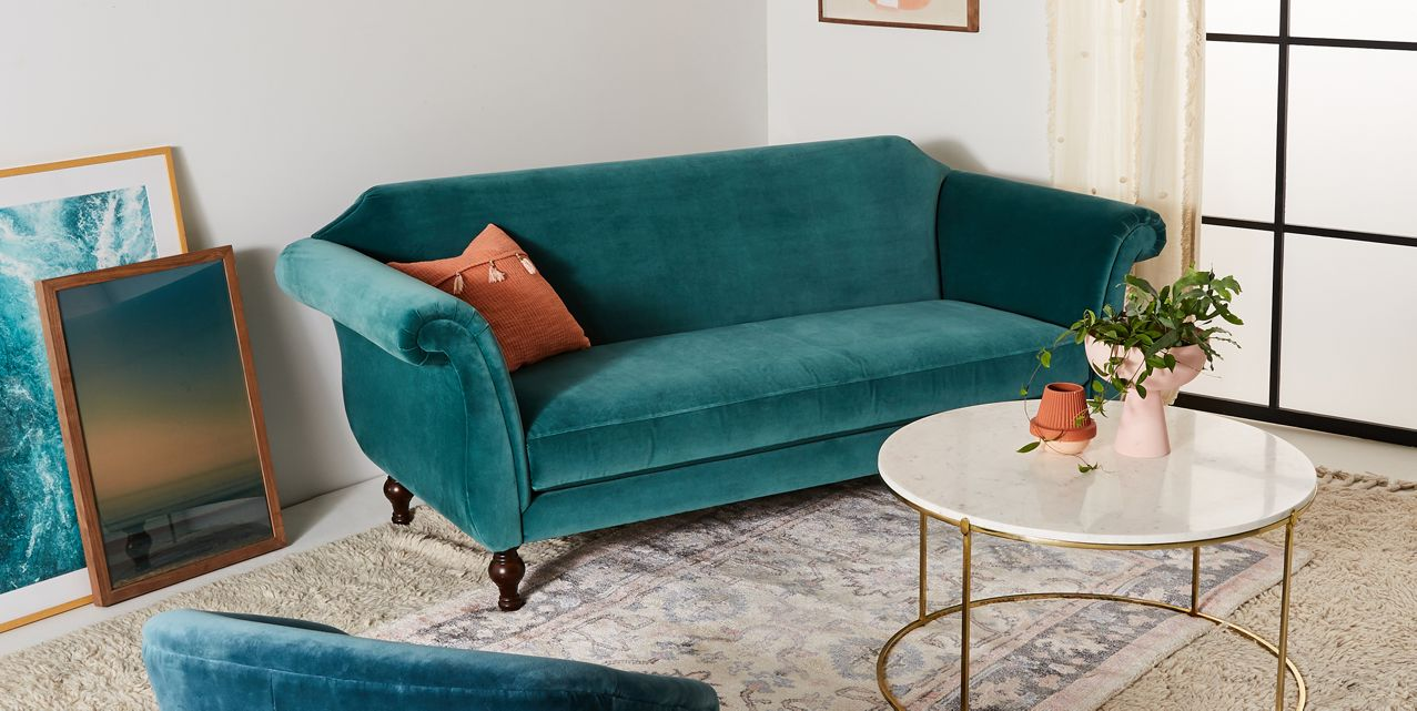 Light Teal Blue Velvet Sofa