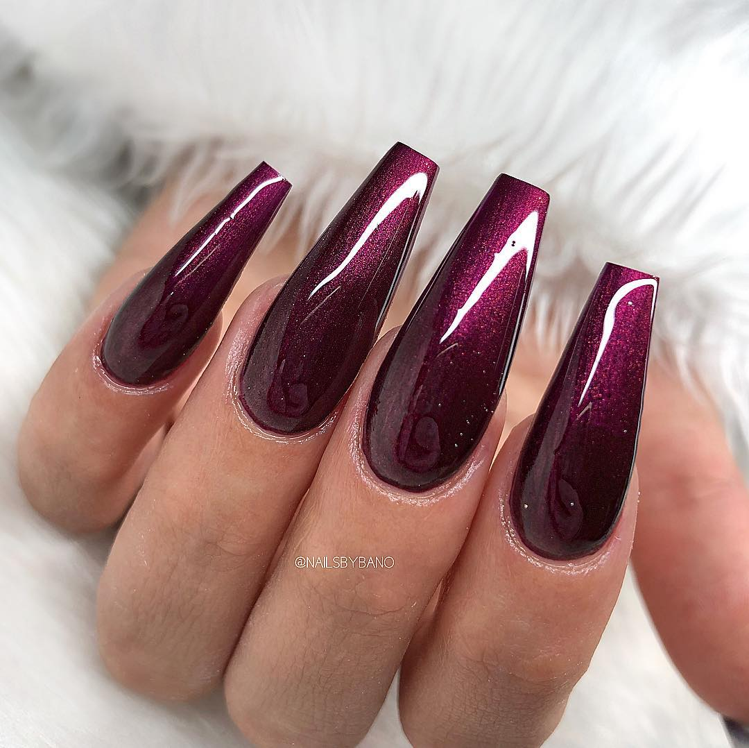 Black Cherry Coffin Nails
