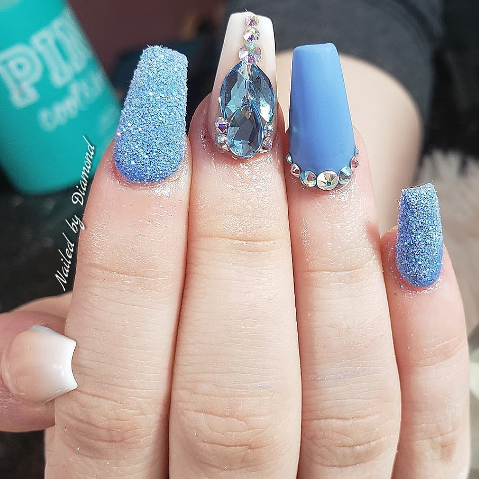 Jewel and Frost Blue Coffin Nails