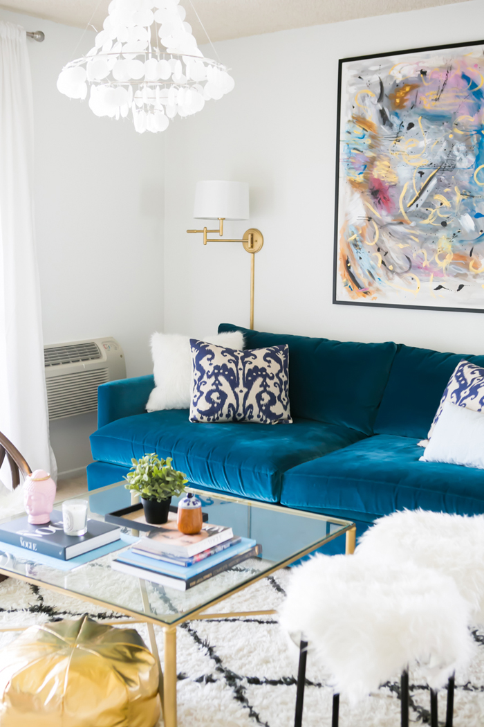 Blue Velvet Couch in Glam Living Room