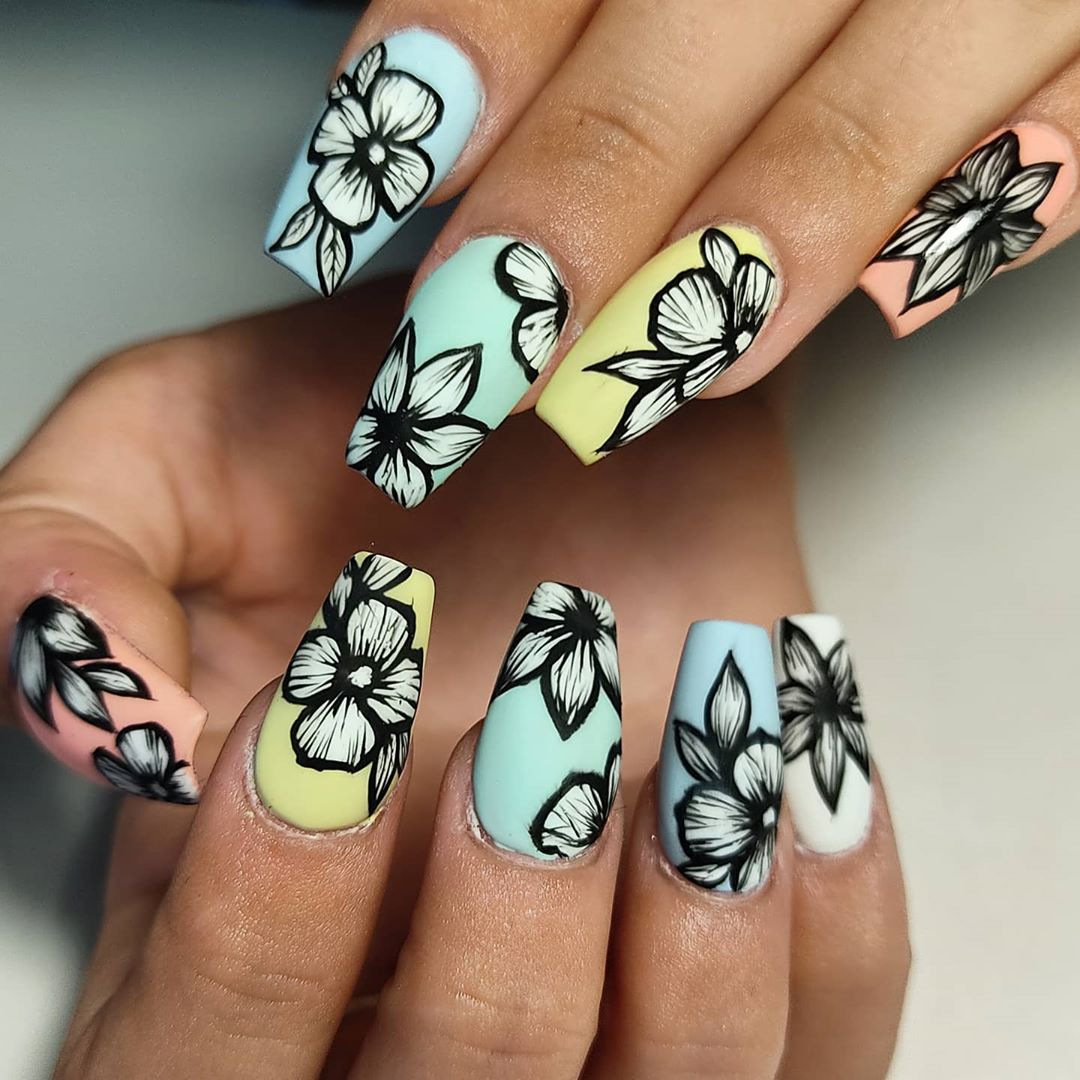 Rainbow Floral Coffin Nails