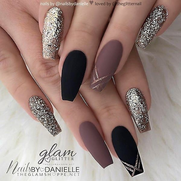Black and Mauve Coffin Nails