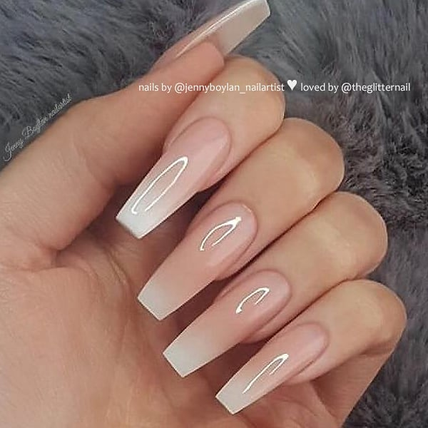 Glossy French Ombre Coffin Nail Design