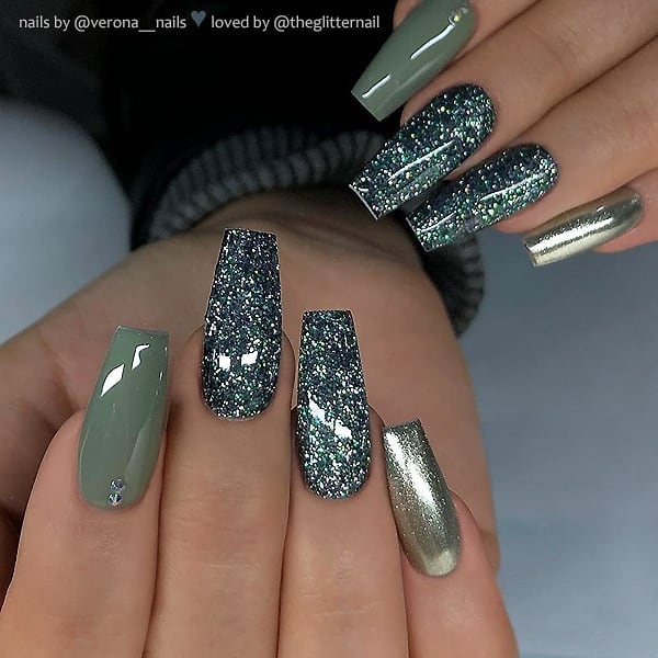 Dusty Green and Metallic Coffin Nails