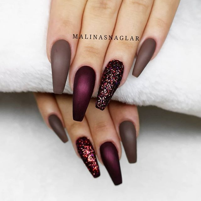 Dark Red Coffin Nail Designs