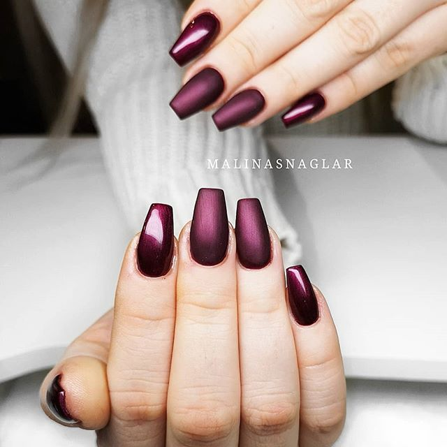 Dark Purple Red Coffin Nails