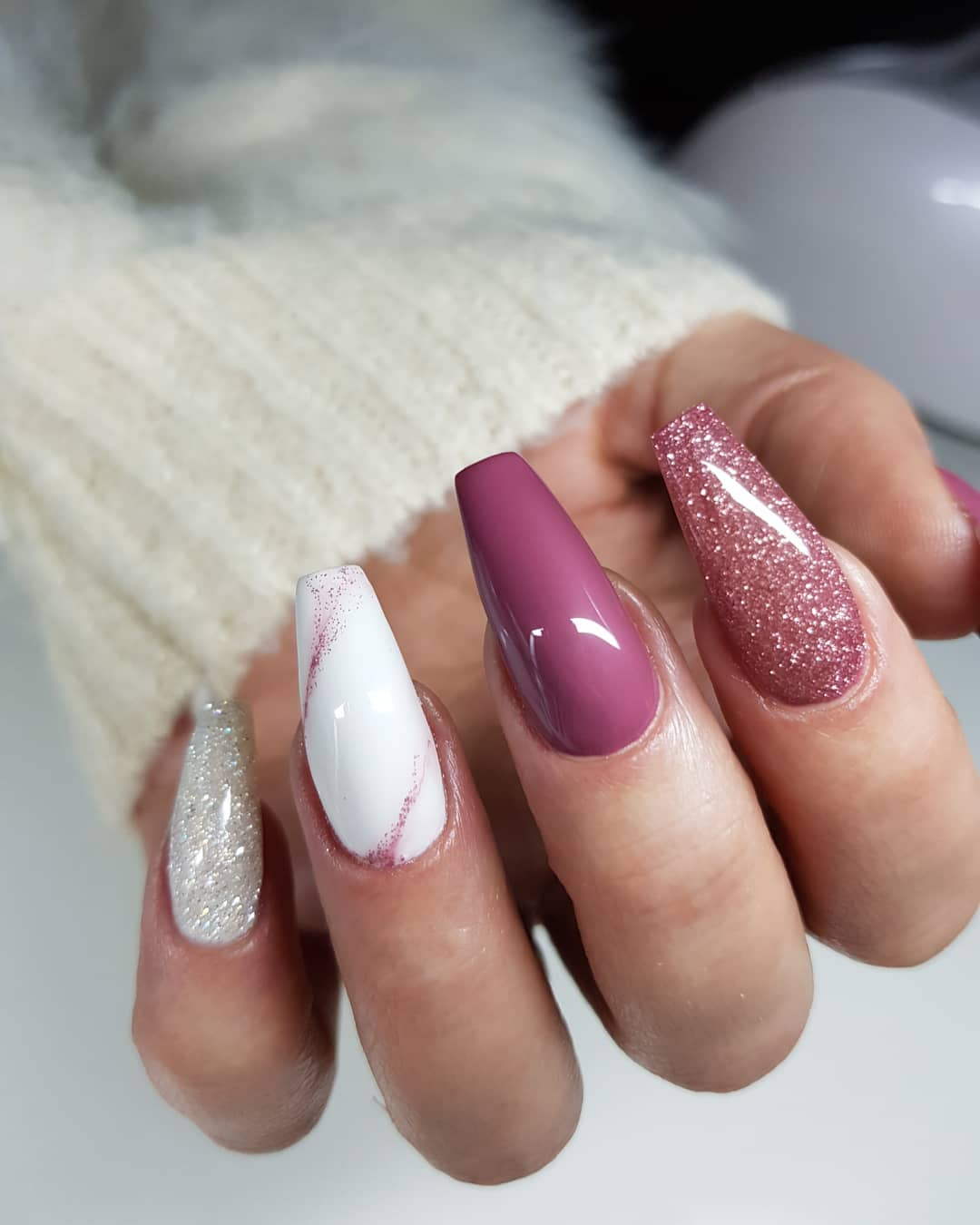 Glitter Pink and White Marble Coffin Nail design