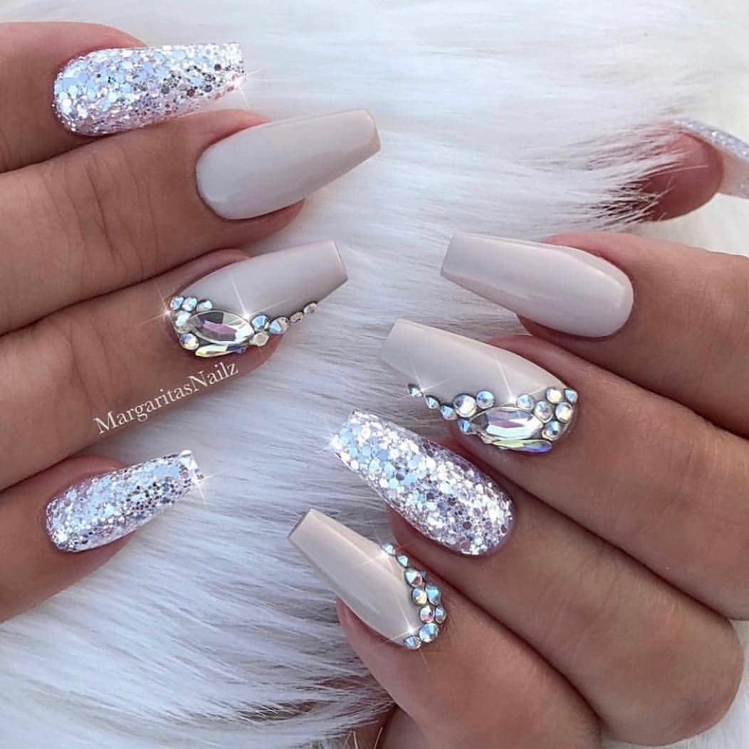 Glitter Jewel White Coffin Nails