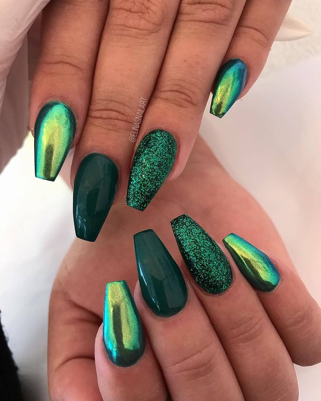 Emerald Coffin Nail Design