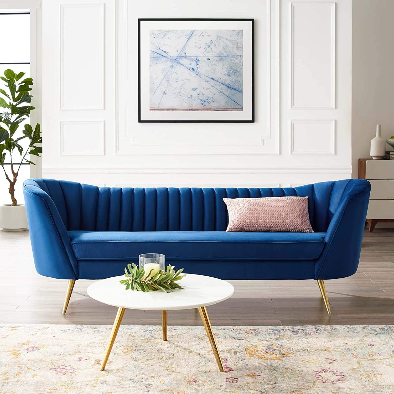 Contemporary Blue Velvet Sofa With Gold Legs