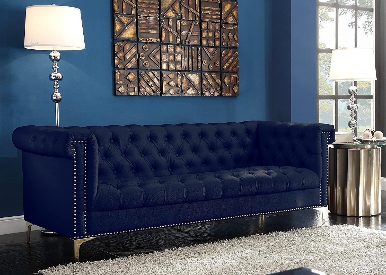 Luxurious Blue Velvet Sofa