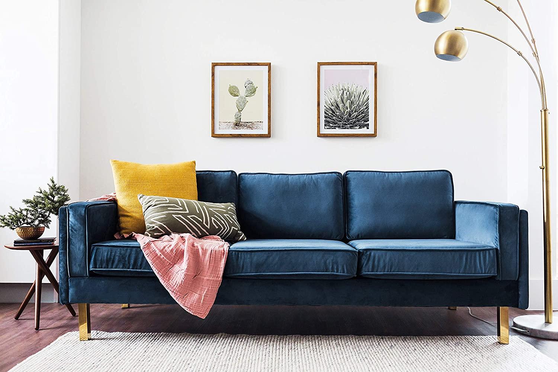 Midcentury Modern Blue Velvet Sofa