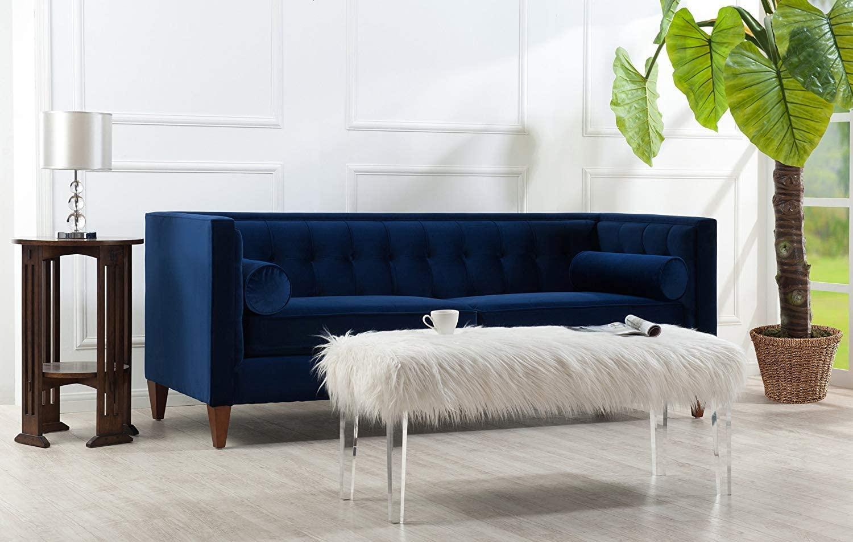 Highly-Rated Blue Velvet Sofa