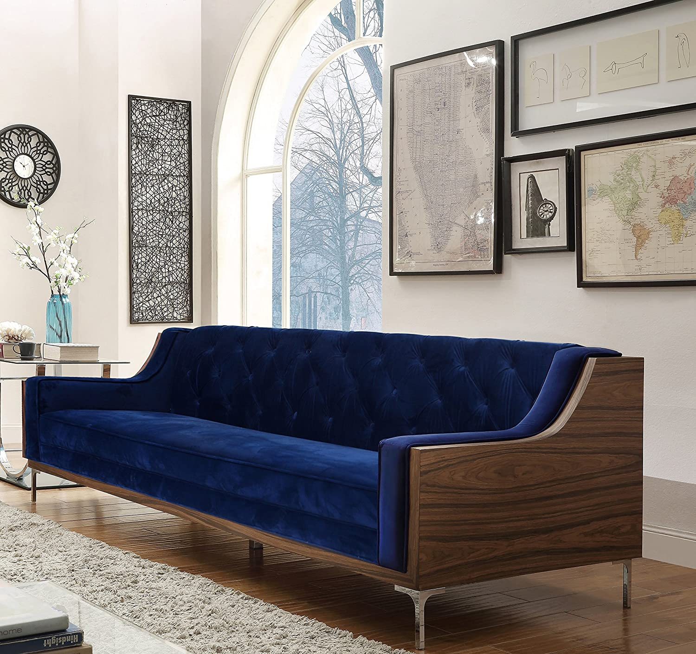 Blue Velvet Sofas With Creative Living Room Decor Ideas
