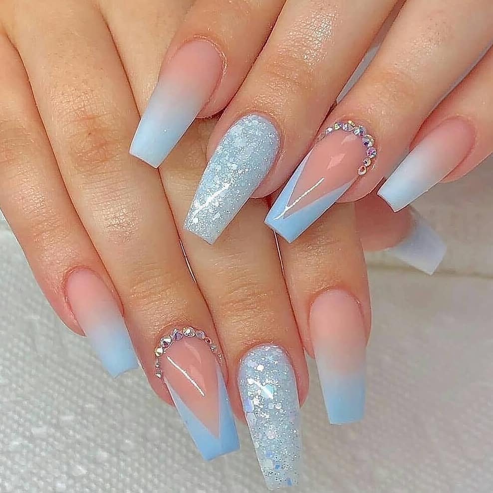 Blue Negative Space Nail Design