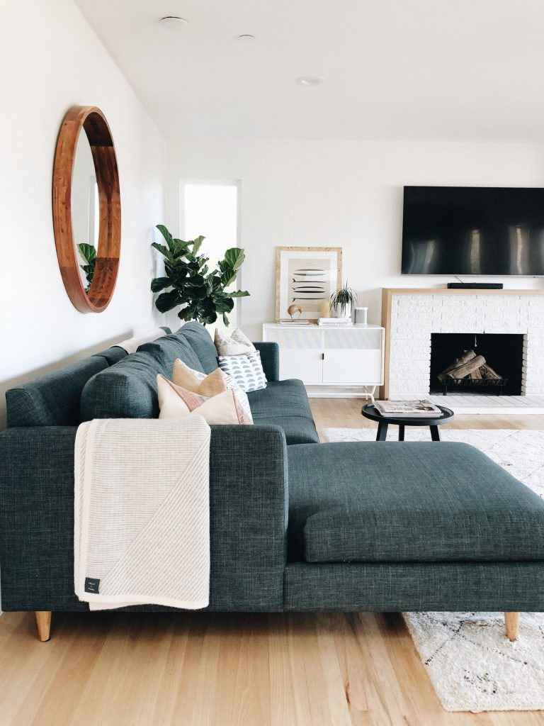 Neutral Small Living Room Decor With Pops of Color