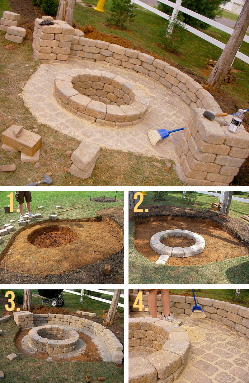 Stone Fire Pit With Half Wall