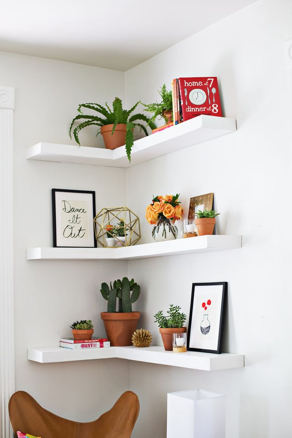 Corner Floating Shelves in Small Living Room