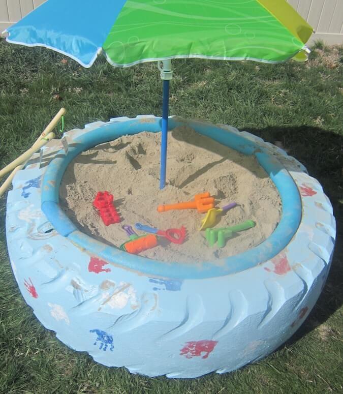 DIY Sandbox With Tire