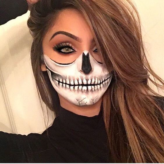 Half Skull - Halloween Costume Makeup for Women