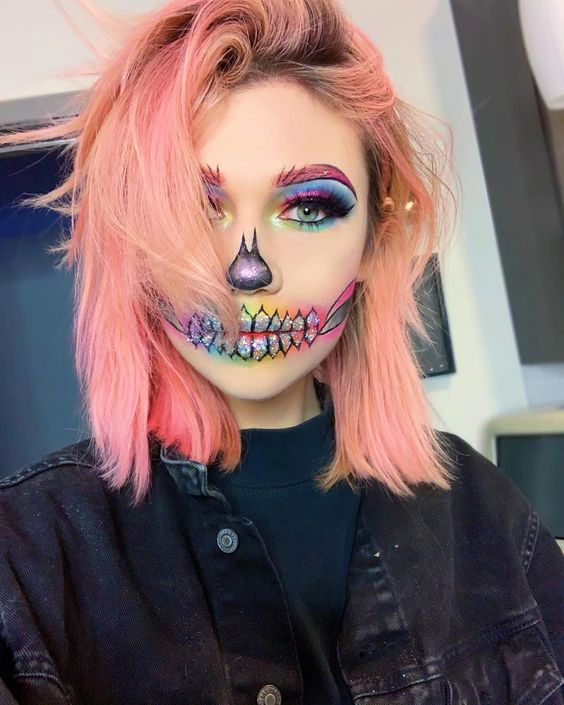 Rainbow Skull Halloween Makeup