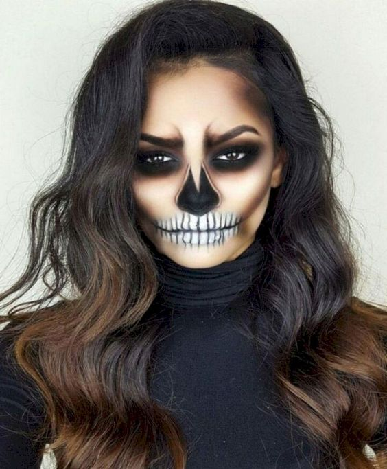 Contoured Skull Makeup for Halloween Parties