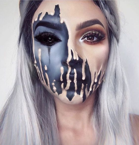 Half-Face, Female Ghoul - Halloween Makeup Ideas