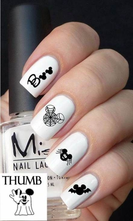 White Halloween Nails With Disney Mickey Mouse Spider and Spiderwebs