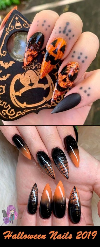 Happy and Evil Jack-o-Lantern Halloween Nails