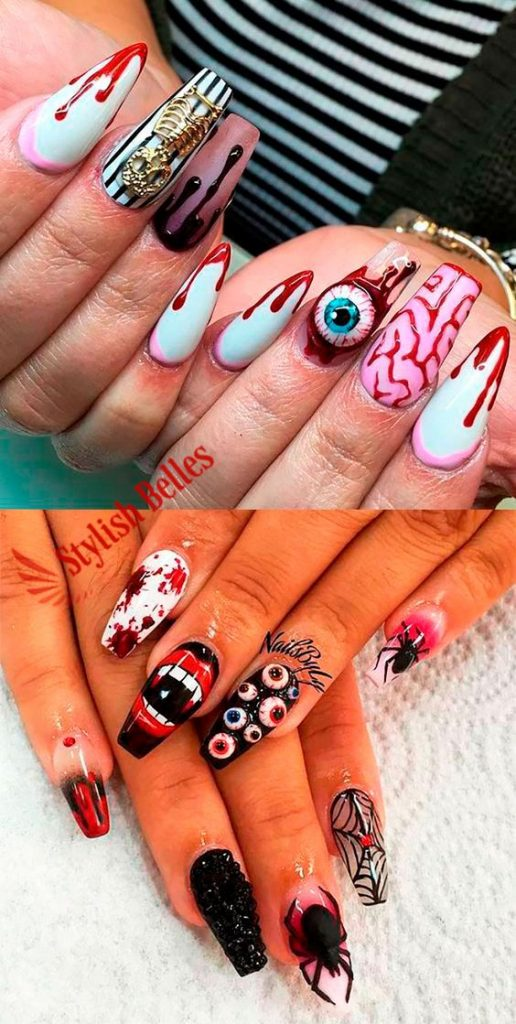 Scary Bloody Eyeballs and Brains Halloween Nails